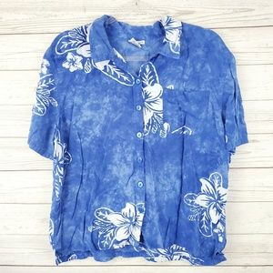 Go Fish Blue Floral Hawaiian Button Up Top